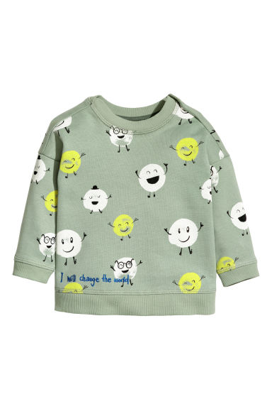 Sweat-shirt - Vert ancien/motif - ENFANT | H&M BE