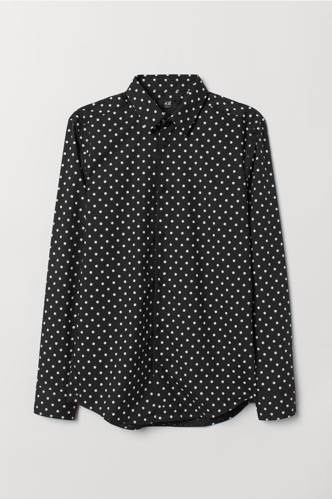 Zwart Overhemd Met Witte Stippen.Overhemd Slim Fit Zwart Witte Stippen Heren H M Nl