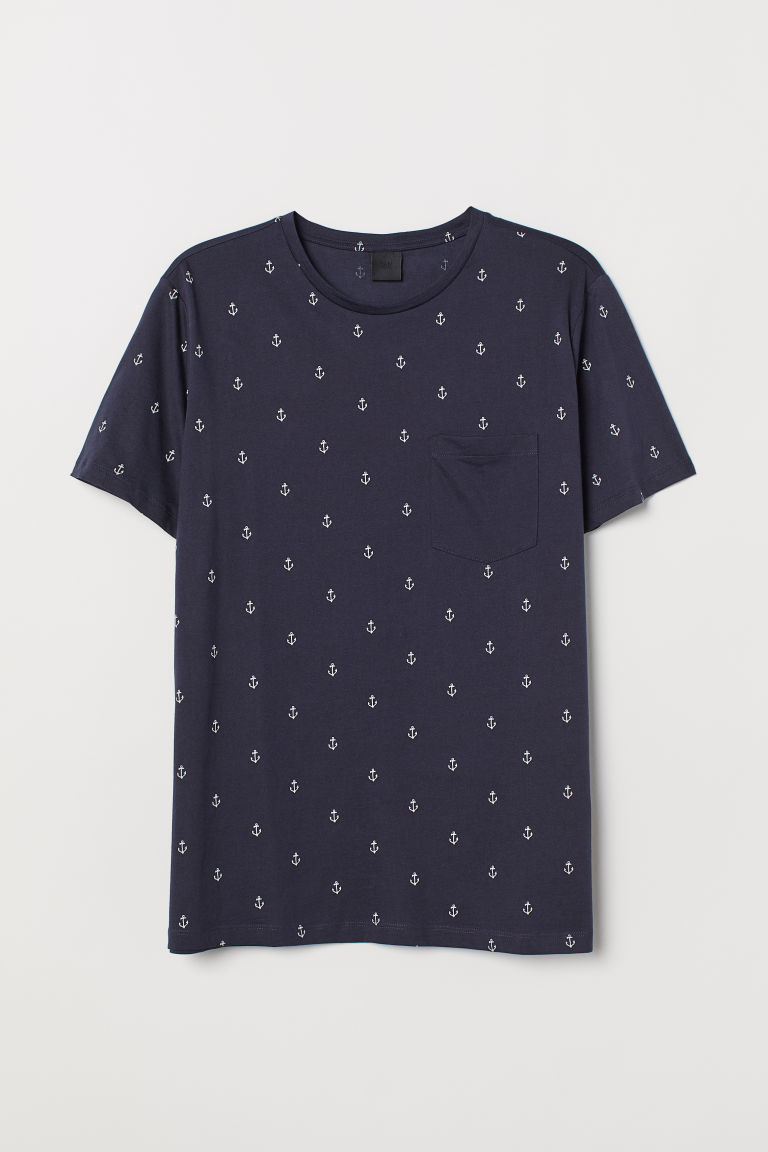 Cotton T-shirt - Dark blue/Anchors - Men | H&M CN
