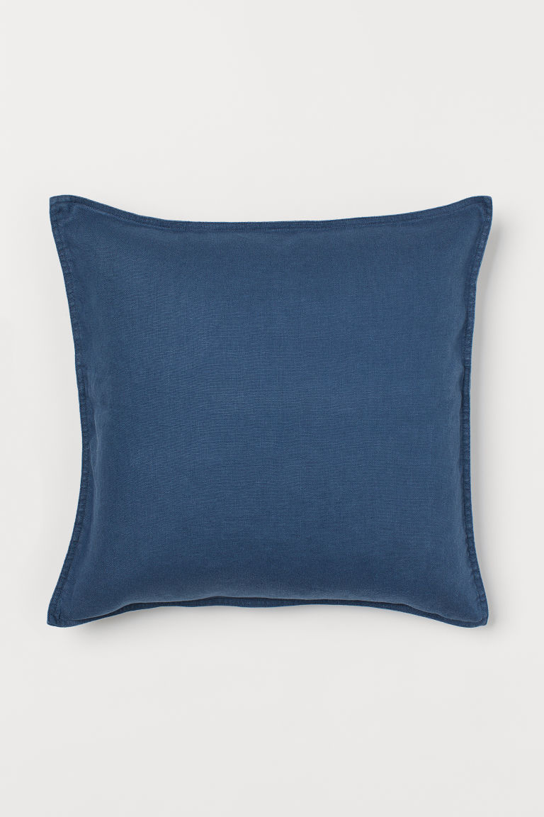 Washed linen cushion cover - Dark blue - Home All | H&M GB
