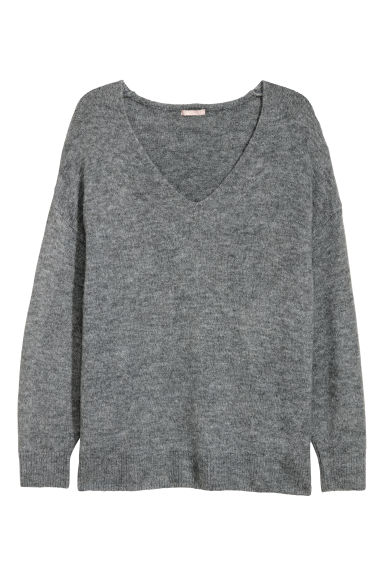 H&M+ V-neck jumper - Light grey - Ladies | H&M CN