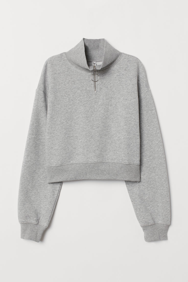 Stand-up collar sweatshirt - Light grey marl -  | H&M CN
