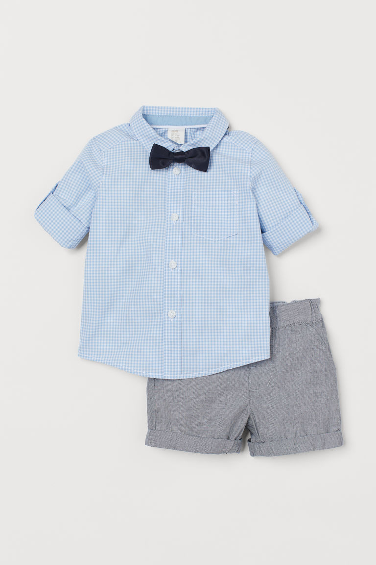 Shirt with bow tie and shorts - Light blue/Checked - Kids | H&M