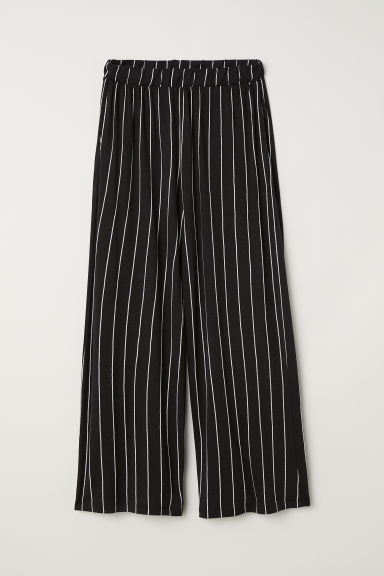 Wide jersey trousers - Black/White striped -  | H&M IE