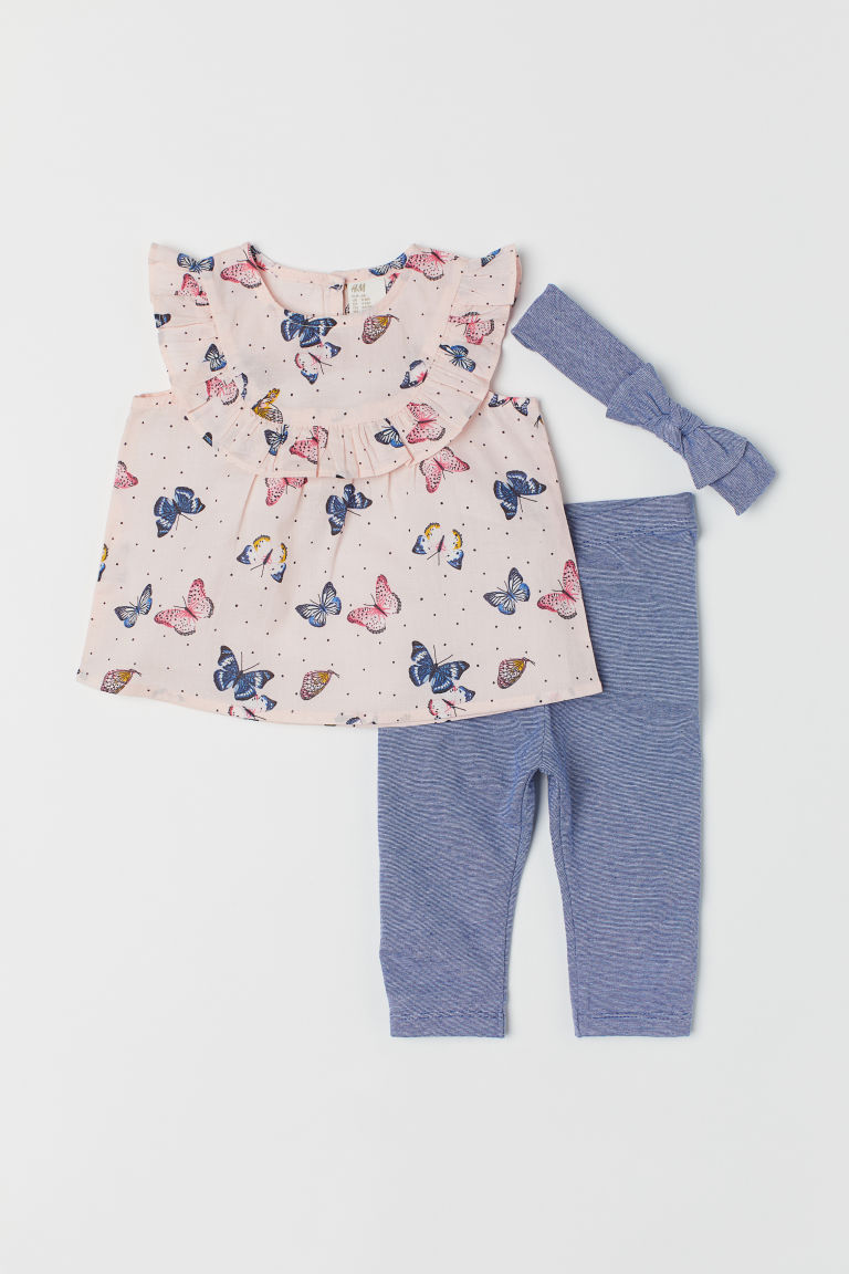 3-piece set - Light pink/Butterflies - Kids | H&M CN