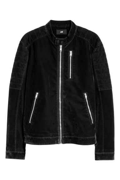 Biker jacket - Black/Imitation suede - Men | H&M