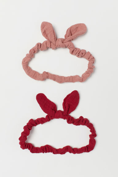 2-pack cotton hairbands - Red/Powder pink - Kids | H&M CN