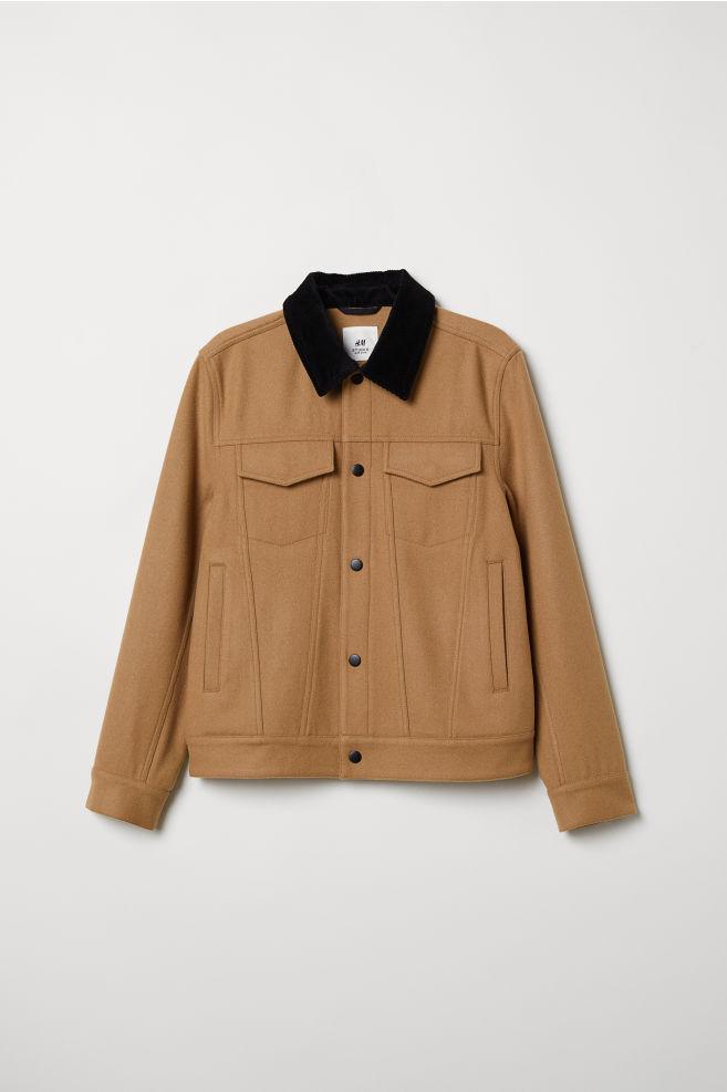 2cb470565f Rövid gyapjúkeverék kabát - Sötétbézs - FÉRFI | H&M ...
