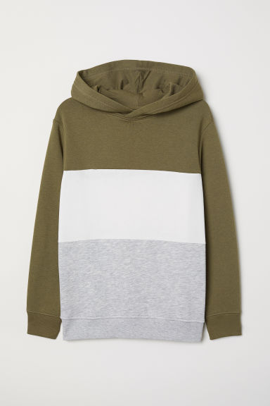 Hooded top - Khaki green/Block-coloured - Kids | H&M