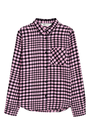 Cotton flannel shirt - Pink/Black checked - Kids | H&M