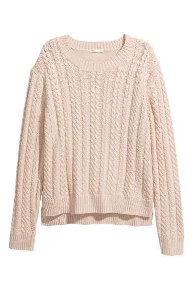 Cable-knit jumper - Cream -  | H&M