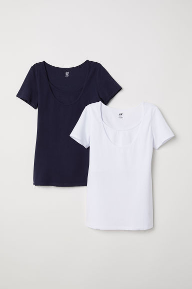 MAMA 2-pack nursing tops - Dark blue/White - Ladies | H&M