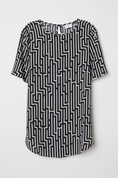 Patterned top - Black/White patterned - Ladies | H&M CN