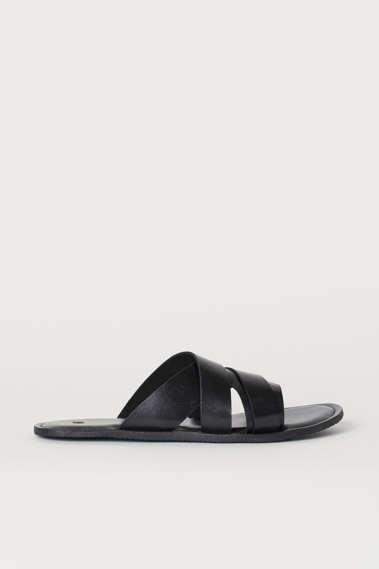 Leather mules - Black -  | H&M