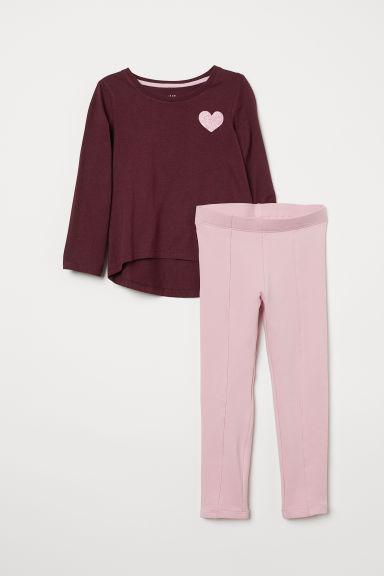 Top and leggings - Burgundy/Heart - Kids | H&M CN