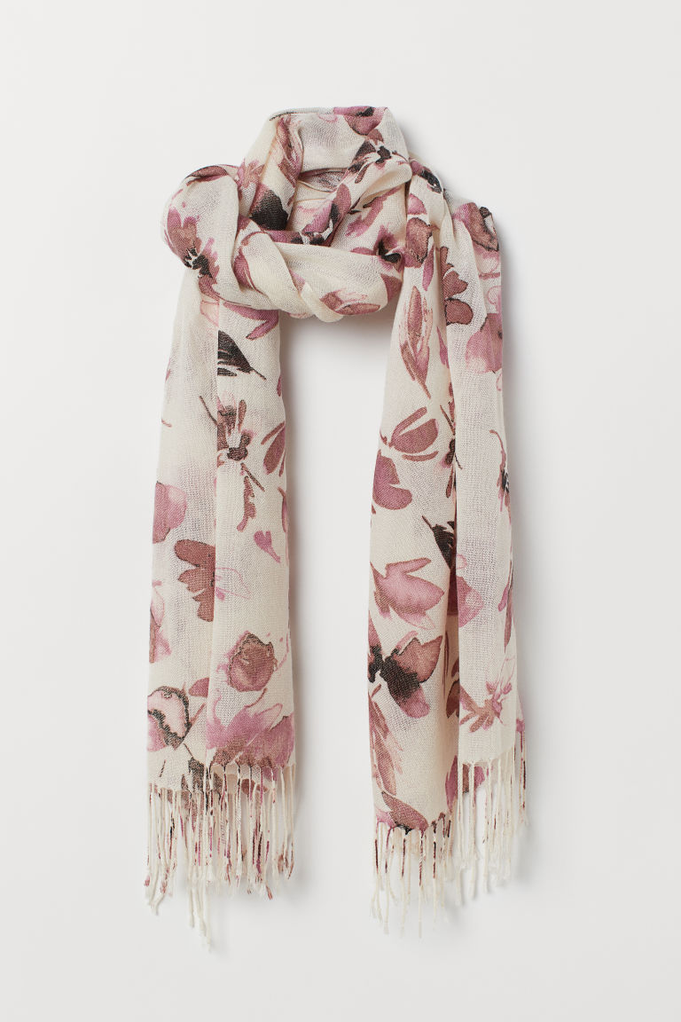 Patterned scarf - Powder beige/Floral -  | H&M CN