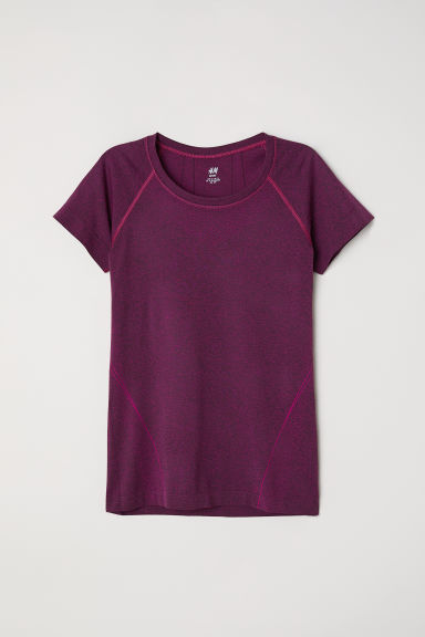 Seamless sports top - 深粉紅混色 -  | H&M