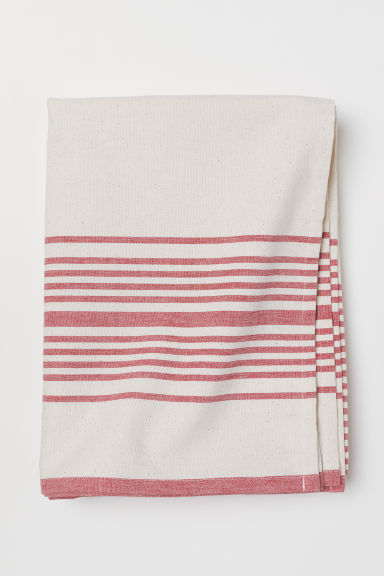 Cotton tablecloth - Natural white/Striped - Home All | H&M CN