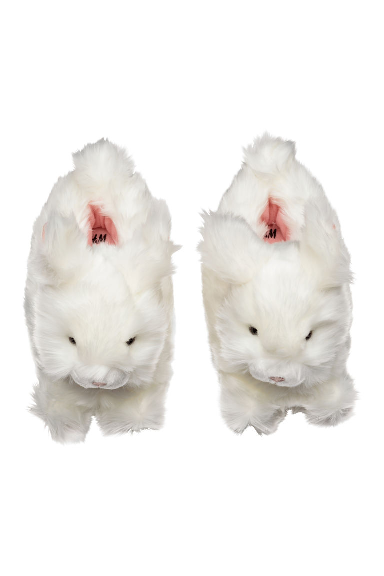 Soft slippers - White/Rabbit - Kids | H&M