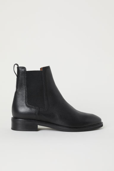 Leather Chelsea boots - Black -  | H&M