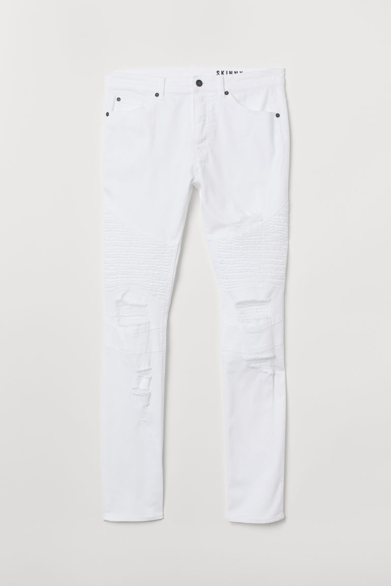 Skinny Biker Jeans - 白色 - Men | H&M CN