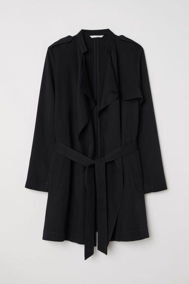 Short lyocell trenchcoat - Black -  | H&M