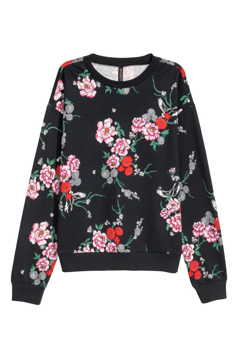 Printed sweatshirt - Black/Floral - Ladies | H&M