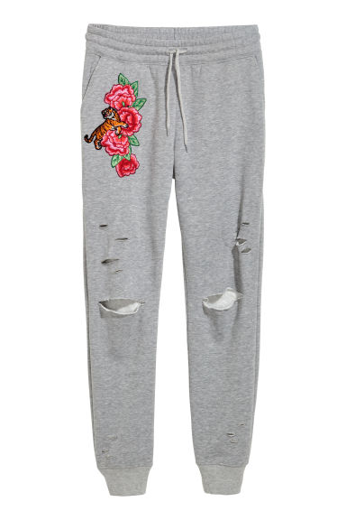 Embroidered joggers - Grey marl/Roses -  | H&M CN