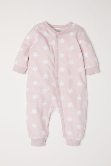 Fleece all-in-one pyjamas - Light pink/Stars - Kids | H&M