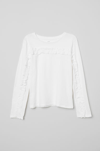 Flounced jersey top - Natural white - Kids | H&M