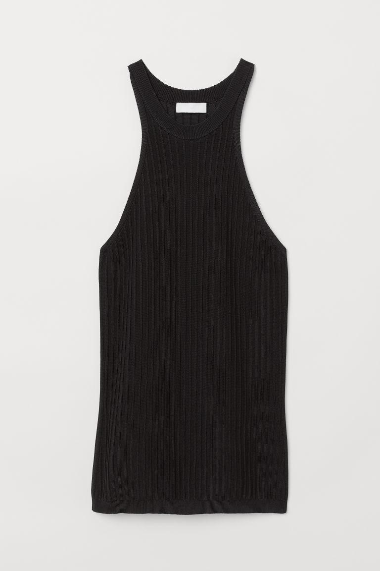 Ribbed Viscose-blend Top - Black - Ladies | H&M US 5