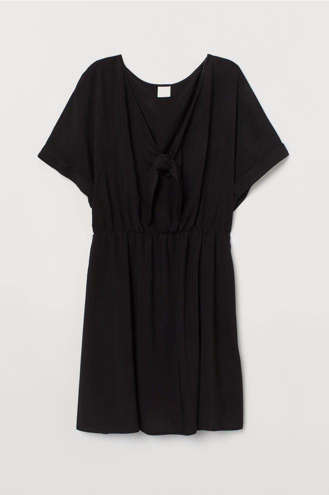 d5b2e6e996 V-neck tie-front dress - Black - Ladies