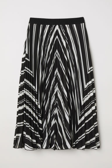 Pleated skirt - Black/White striped - Ladies | H&M CN