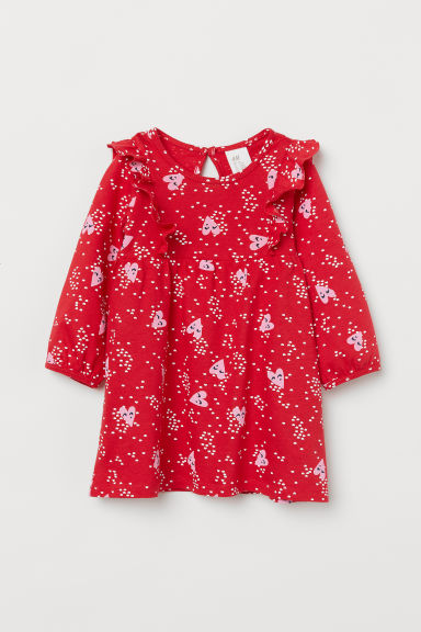 Patterned frilled dress - Red/Hearts - Kids | H&M CN