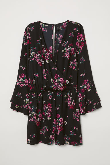 V-neck playsuit - Black/Small floral -  | H&M