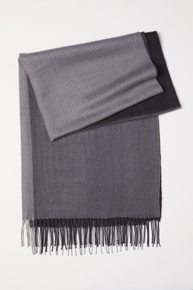 Jacquard-weave scarf - Black/Dark grey - Ladies | H&M