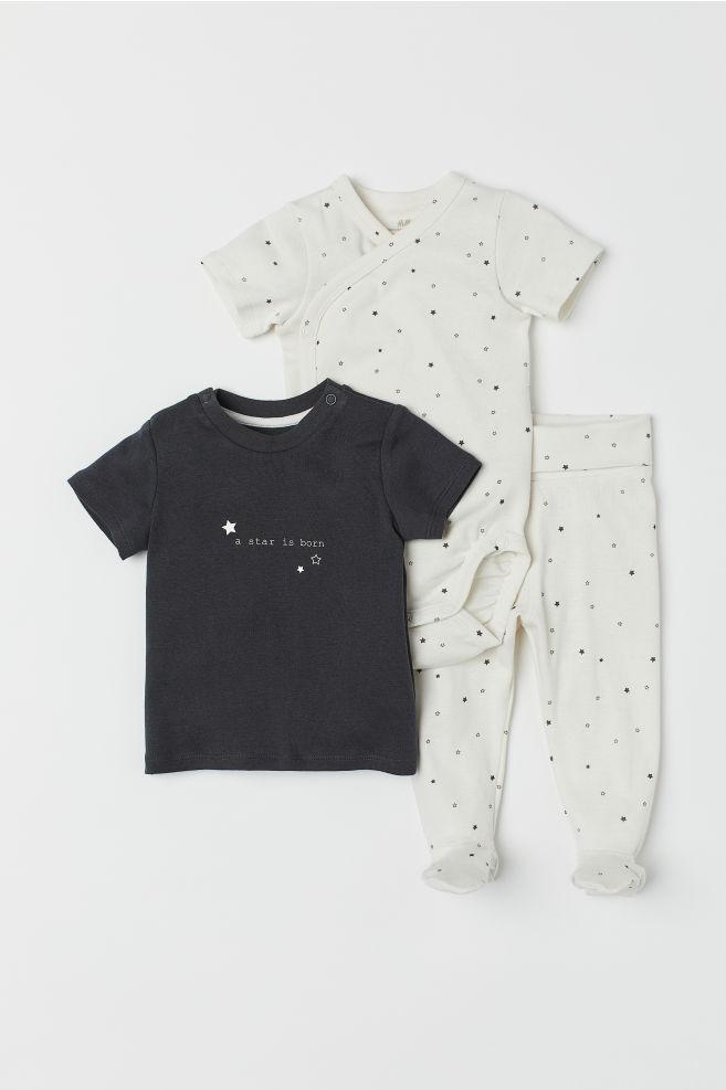 3abd73c7def 3-piece Jersey Set - Natural white dark gray - Kids
