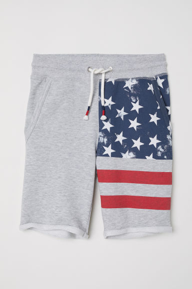 Sweatshirt shorts - Grey marl/Flag - Kids | H&M
