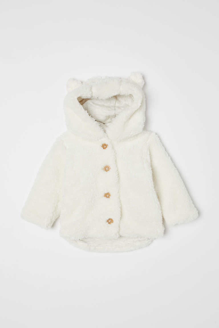 Pile hooded jacket - White - Kids | H&M CN
