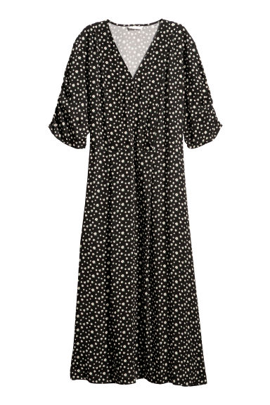 V-neck dress - Black/Patterned -  | H&M