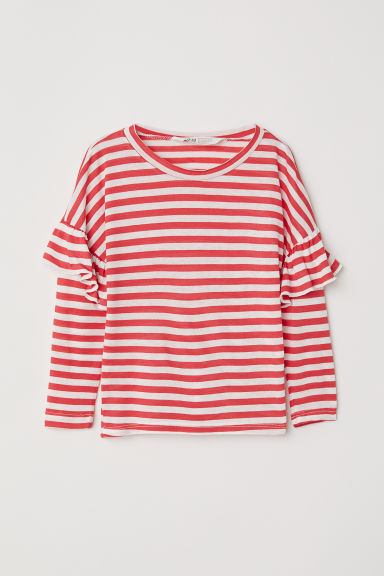 Top with flounces - Red/White striped - Kids | H&M