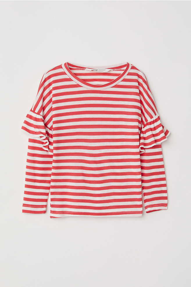 bc7c5b986bde2 Top with flounces - Red White striped - Kids