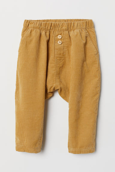 Cotton trousers - Mustard yellow/Corduroy - Kids | H&M