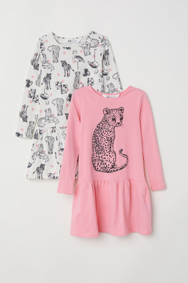 2-pack jersey dresses - Pink/Wild animals - Kids | H&M