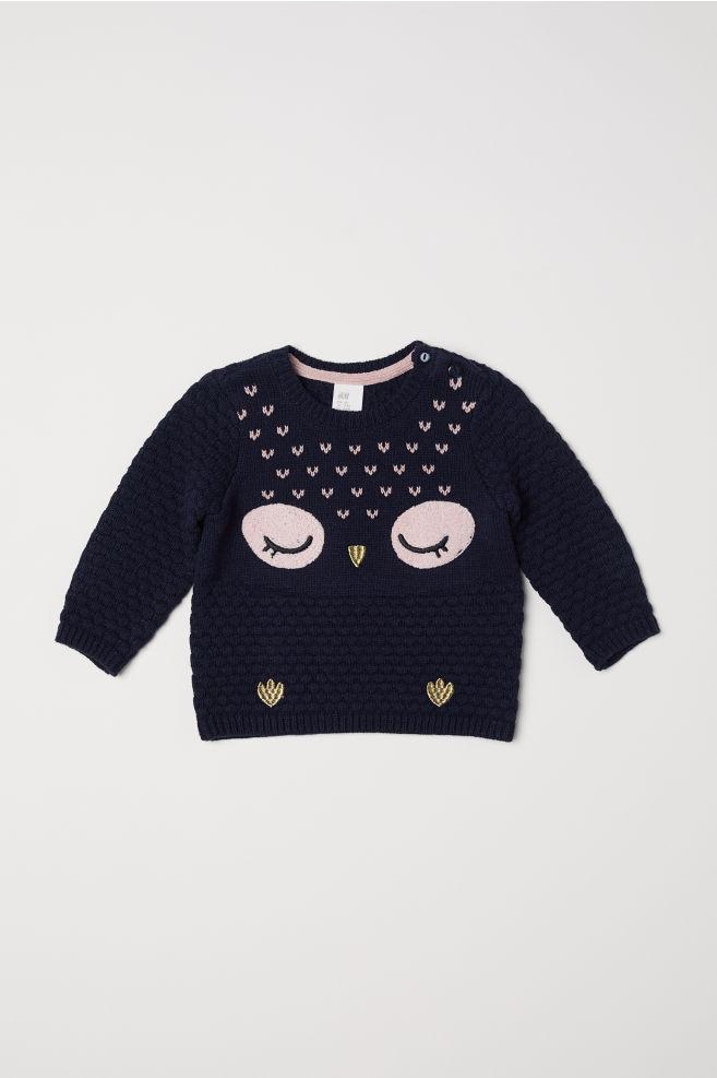 7d1c312d9 Textured-knit Sweater - Dark blue owl - Kids