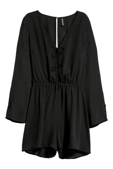 V-neck playsuit - Black -  | H&M