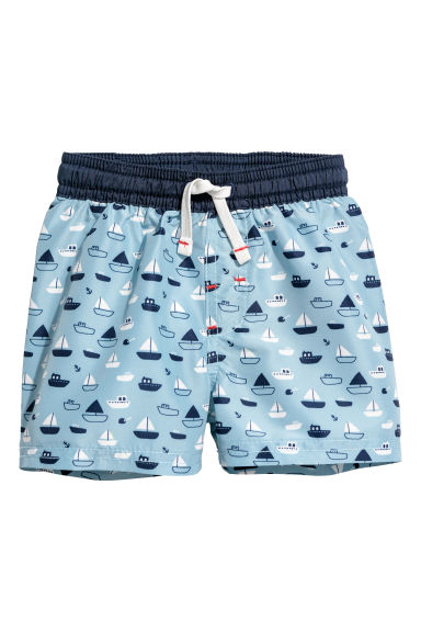 Patterned swim shorts - Light blue/Boats - Kids | H&M