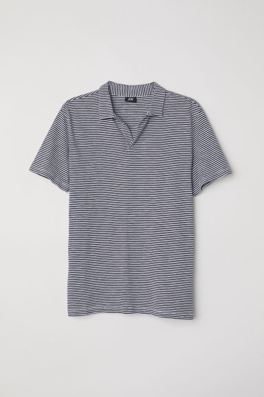 Polo shirt - Dark blue/White striped - Men | H&M CN