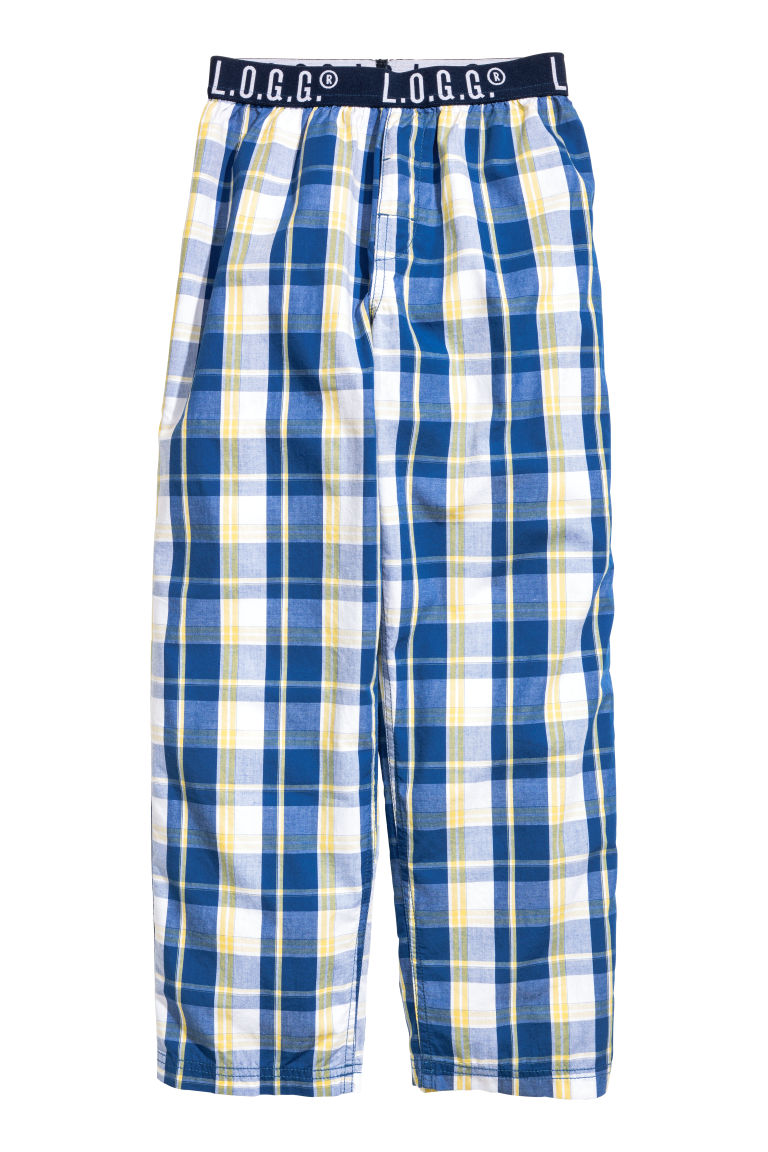 Cotton pyjama bottoms - Blue/Yellow checked - Kids | H&M