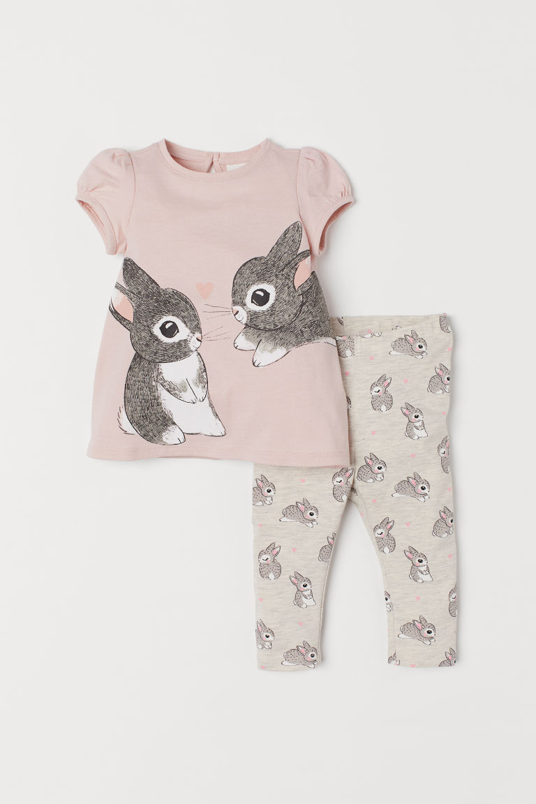Top and leggings - Powder pink/Rabbits -  | H&M IE